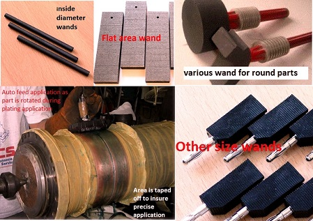 various plating wands for 50 amp and 100 amp brush plater selecting plating