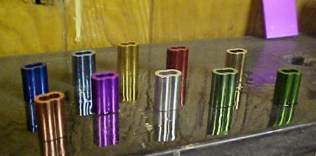 Available are various colors of anodizing dye coloring of the Show Anodizing Kit